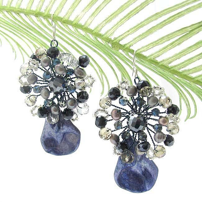 Crowned Teardrop Dyed Blue Shell Earrings (Thailand)