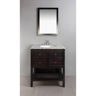 New Haven Espresso Brown 30-inch Bath Vanity with 2 Drawers and Dappled Grey Granite Top