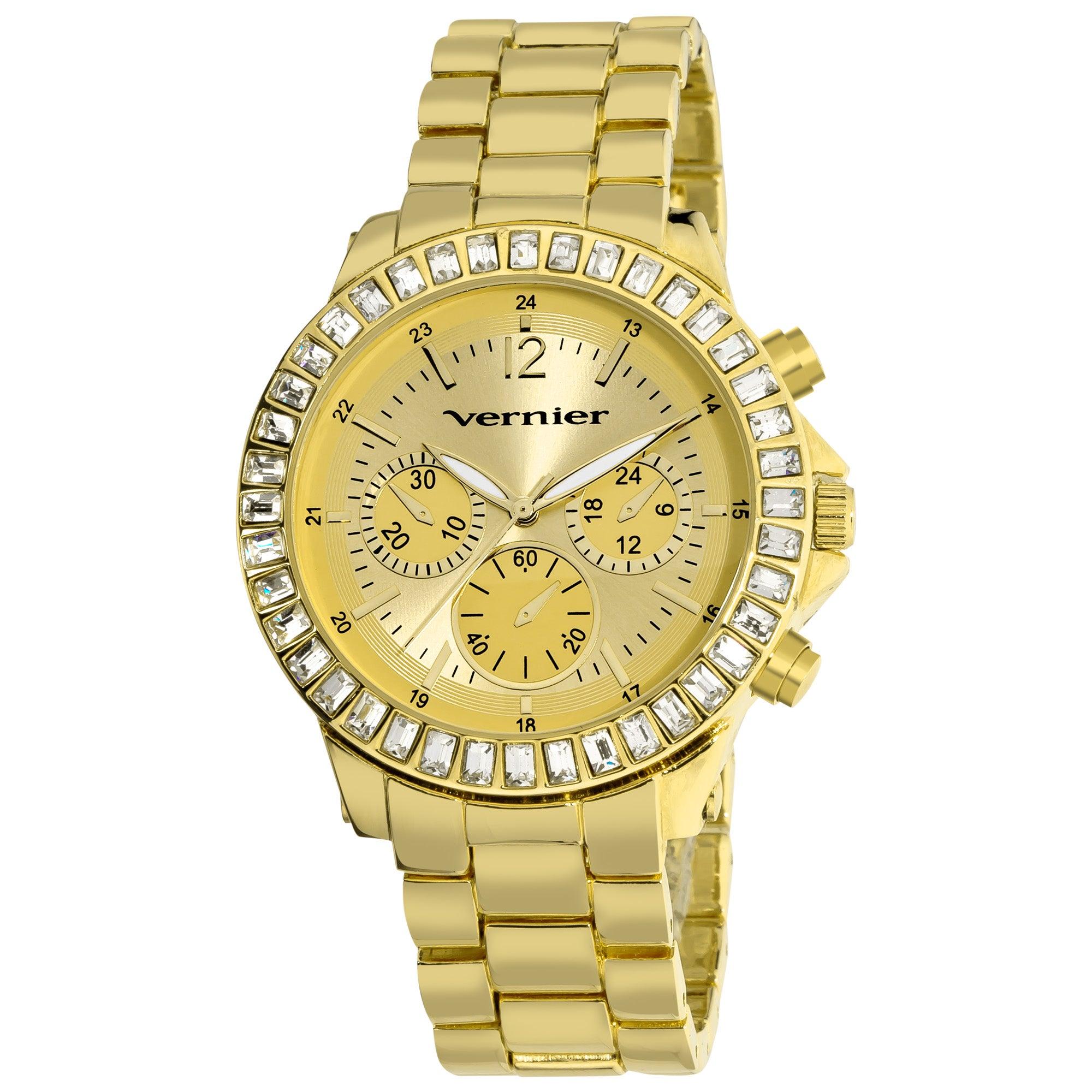 Vernier Women's Large Gold Tone Chrono-Look Dial Dual Time Watch