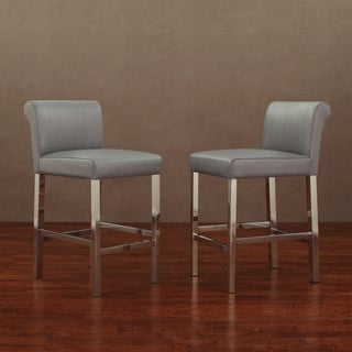 Cosmopolitan Stainless Steel Charcoal Snake Leather Counter Stools (Set of 2)