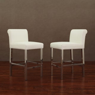 Cosmopolitan Stainless Steel White Snake Leather Counter Stools (Set of 2)