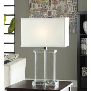 Crystal Rectangular White Shade Table Lamp