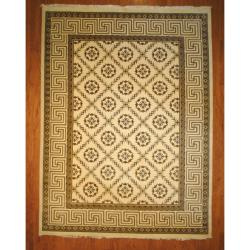 Indo Hand-knotted Tibetan Ivory/ Light Brown Wool Rug (9'1 x 12')