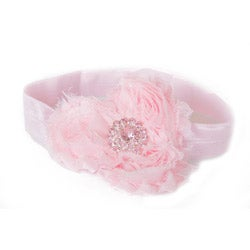 My Princess Tutus Hand-crafted Pink Rolled Flower Elastic Headband