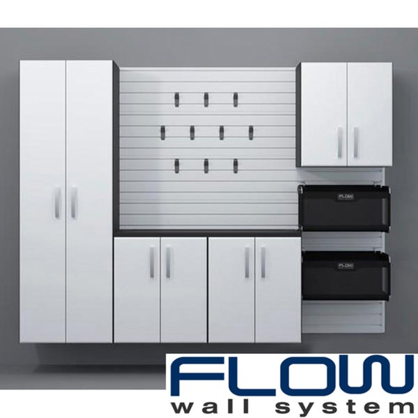 Flow Wall White Five Piece Deluxe Cabinet Set