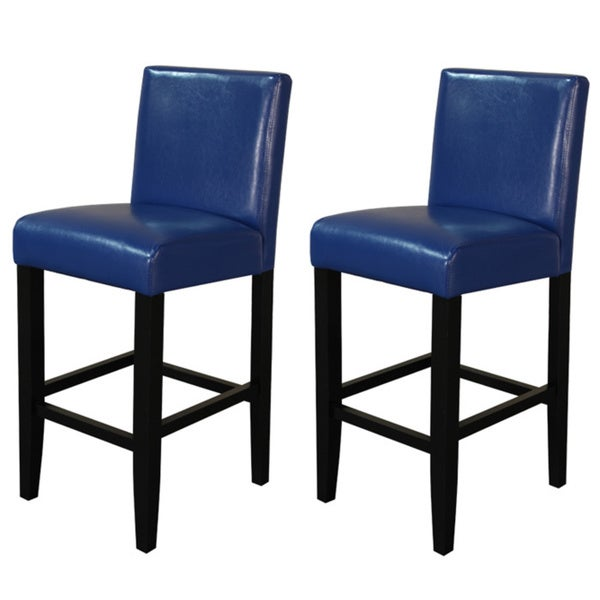 Villa Faux Leather Blue Counter Stools (Set of 2)