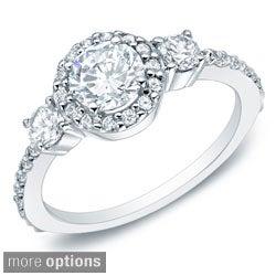 Auriya 14k Gold 3/4ct TDW Round Diamond Halo Engagement Ring (G-H, I1-I2)