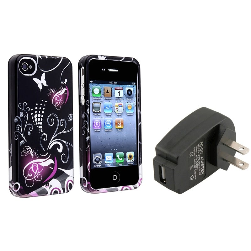INSTEN Black/ Purple Heart Phone Case Cover/ Black Travel Charger for Apple iPhone 4/ 4S