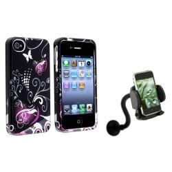 INSTEN Heart Phone Case Cover/ Windshield Phone Holder for Apple iPhone 4/ 4S
