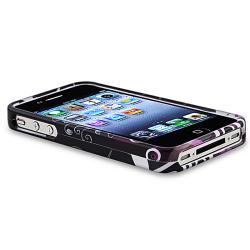 INSTEN Black/ Purple Heart Phone Case Cover/ Black Stylus for Apple iPhone 4/ 4S