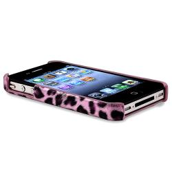 Purple Leopard Case/ Anti-glare LCD Protector for Apple iPhone 4/ 4S