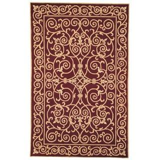 Safavieh Hand-hooked Chelsea Irongate Burgundy Wool Rug (7'6 x 9'9)