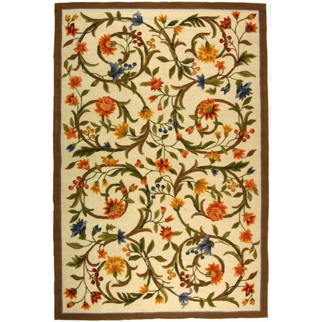 Safavieh Hand-hooked Garden Scrolls Ivory Wool Rug (6' x 9')
