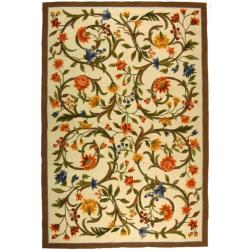 Safavieh Hand-hooked Garden Scrolls Ivory Wool Rug (8'9 x 11'9)