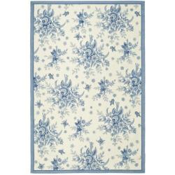 Safavieh Hand-hooked Garden Ivory/ Blue Wool Rug (8'9 x 11'9)