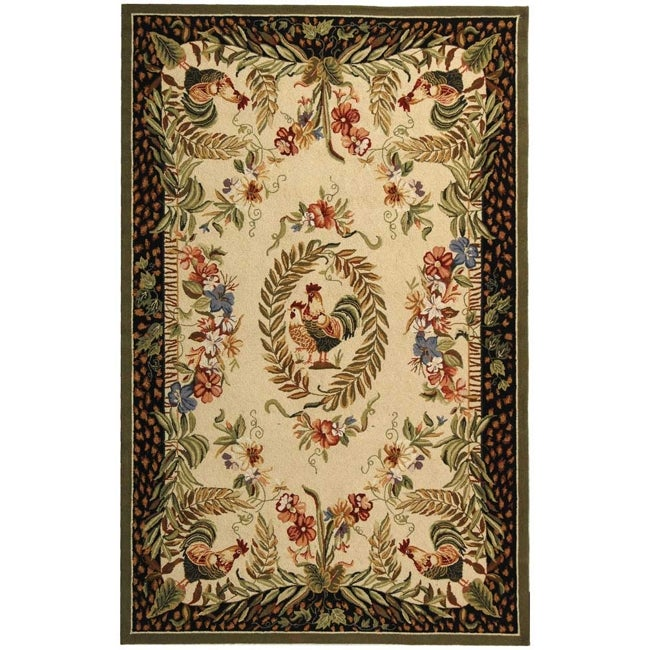 Safavieh Hand-hooked Rooster And Hen Cream/ Black Wool Rug
