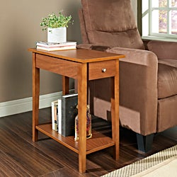 Walnut Finish Wood Chair Side End Table with Drawer