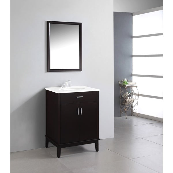 brown 24 inch bath vanity with 2 doors and white quartz marble top