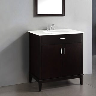 Oxford Dark Espresso Brown 30-inch Bath Vanity with 2 Doors and White Quartz Marble Top