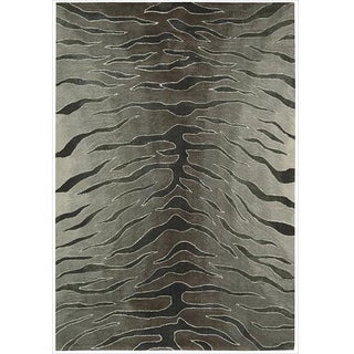 Nourison Hand-tufted Contours Animal Print Silver Rug (5' x 7'6)