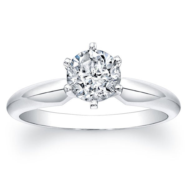 14k White Gold Certified 1ct TDW 6-Prong Diamond Engagement Solitaire Ring (F-G, I1-I2)