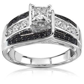 Annello 14k White Gold 7/8ct TDW Black and White Diamond Ring (H-I, I1-I2)