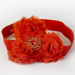 Red Rolled Flower Headband