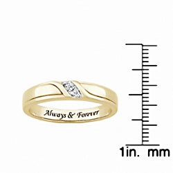 Sterling Silver or 18k Gold over Silver 'Always & Forever' Engraved Diamond Accent Wedding Ring