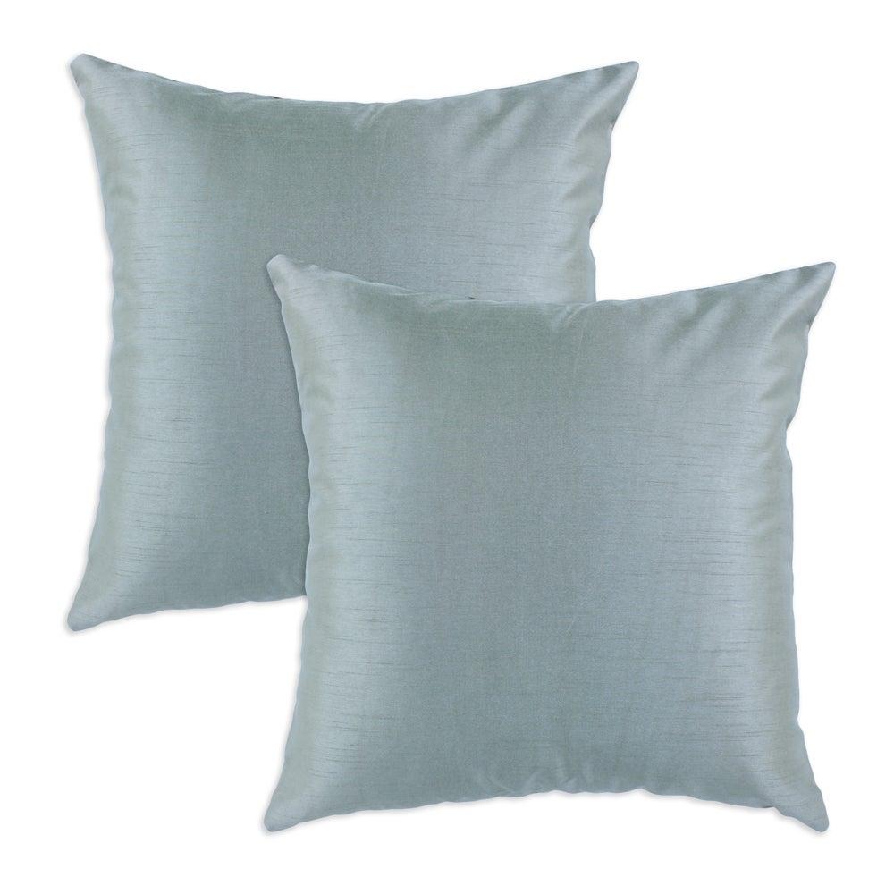 Shantung Ice Blue S-backed 17x17 Fiber Pillows (Set of 2)