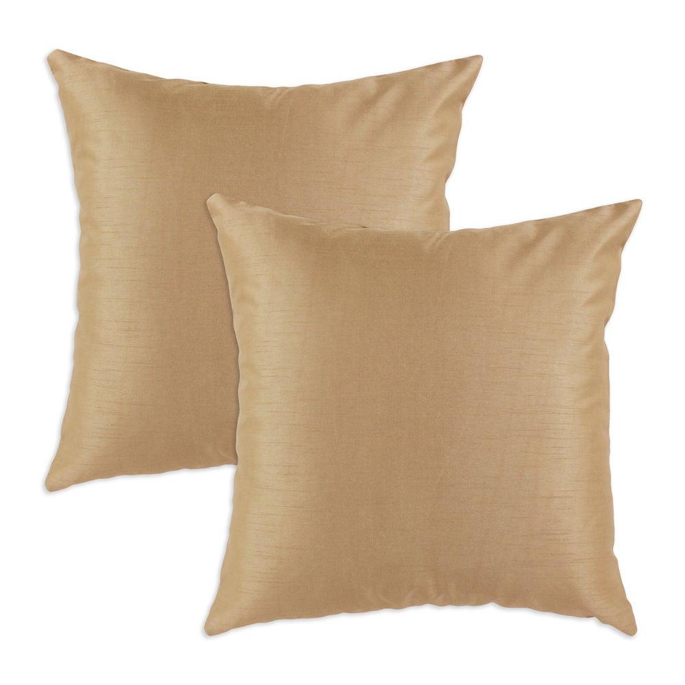 Shantung Almond S-backed 17x17 Fiber Pillows (Set of 2)