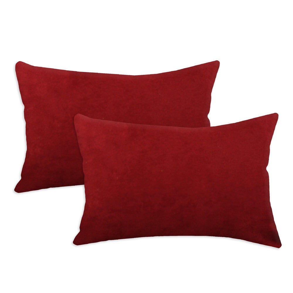 Passion Suede Cinnabar Simply Soft S-backed 12.5x19 Fiber Pillows (Set of 2)