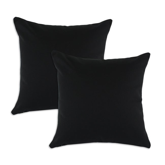 Duck Black S-backed 17x17-inch Fiber Pillows (Set of 2)