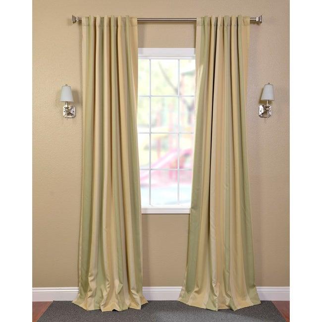 Pistachio Stripe Blackout Back-tab Pole Pocket Curtain Panel