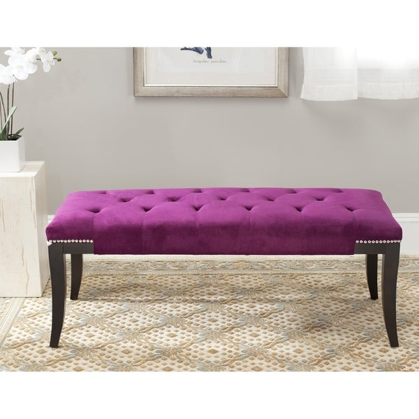 Safavieh Florence Purple Tufted Nailhead Bench