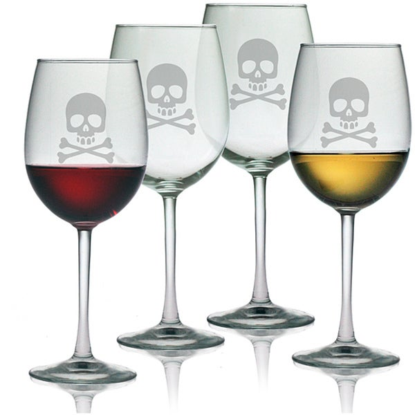 Halloween Skull and Crossbones 19-oz Wine Glasses (Set of 4)