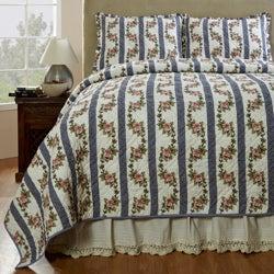 Celine Handmade 3-piece Cornflower Blue Quilt Set