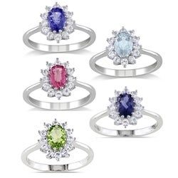 M by Miadora Sterling Silver Gemstone and White Sapphire Ring