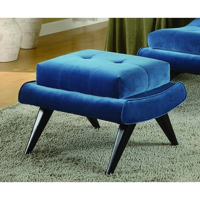 Cerulean Blue Fabric with Ebony Wood Legs Ottomon