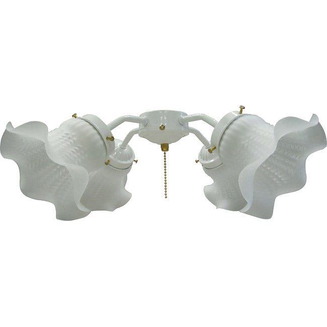 Four-Light White Tulip Glass Ceiling Fan Light Kit