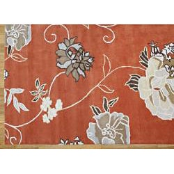 Handmade Alliyah Orange Wool Rug (9' x 12')