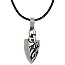 CGC Pewter Men's Tatoo Design Arrowhead Black Leather Cord Necklace