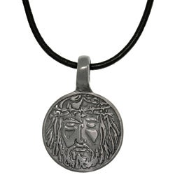 CGC Pewter Unisex Jesus Image Black Leather Cord Necklace