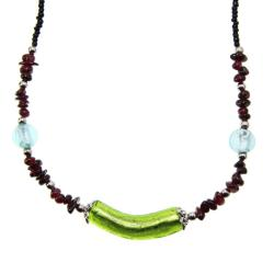 Green Glass Tube Garnet Beads Necklace (China)