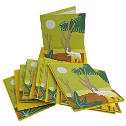 Set of 10 Elephant Dung Light Green Paper Greeting Cards (Sri Lanka)