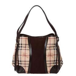 Burberry Small Haymarket Check/ Plum Suede Tote Bag