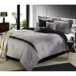 Embroidered Brown Vines 12-piece Bed in a Bag with Sheet Set