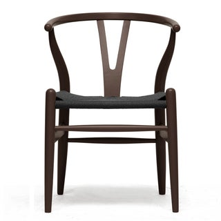 Wishbone Chair Brown Wood Y Chair with Black Seat