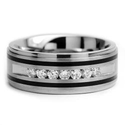 Oliveti Titanium Men's Ring with Resin Inlay and Cubic Zirconia (9mm)