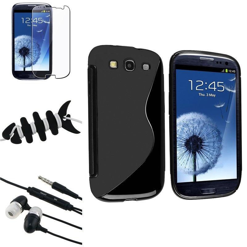 INSTEN Black Phone Case Cover/ Protector/ Headset/ Wrap for Samsung Galaxy S III