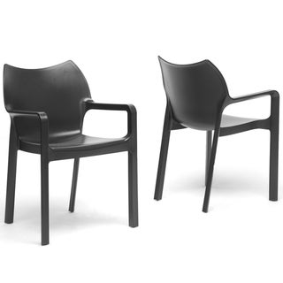 Limerick Black Plastic Stackable Modern Dining Chairs (Set of 2)